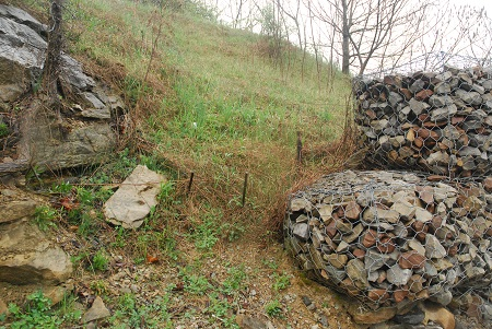 Ground with caged rocks